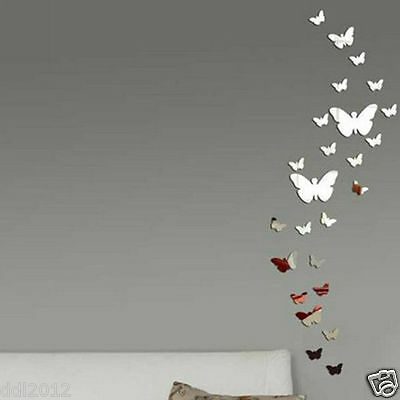 AU6.84 • Buy 30Pcs Butterfly DIY 3D Art Silver Acrylic Mirror Wall Sticker Home Decoration
