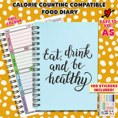 Calorie Counting Diet Food Diary Slimming Weight Loss Tracker Journal Book BLUE • 5.35£