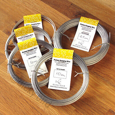 PICTURE WIRE Soft Braided Stainless Steel Light/Heavy Duty Frames Hanging Cord • 2.61£