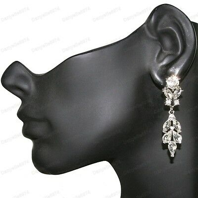 £2.88 • Buy 3 Long SPARKLY CRYSTAL CHANDELIER EARRINGS Silver Rhinestone Marquis Crystals