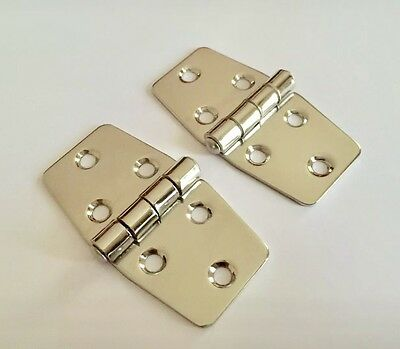 £8.99 • Buy PAIR STAINLESS STEEL MIRROR POLISHED AISI 316 WING HINGE 75MM X 40MM Boat