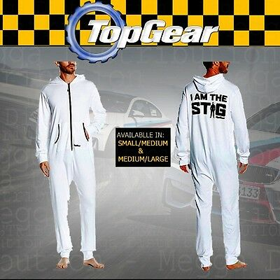 OFFICIAL BBC Top Gear I Am The STIG Racing Driver Body/Jump Suit In WHITE • 10.25£