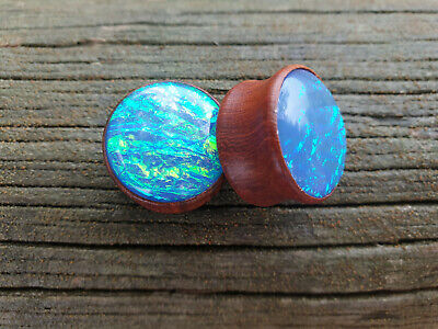 AU8.65 • Buy TIMBER BLUE OPAL PATTERN Ear Plugs Stretchers Jewellery Saddle Wood PL124