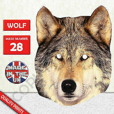 Wolf Cardboard Face Mask Made In The UK Fast Dispatch • 1.94£