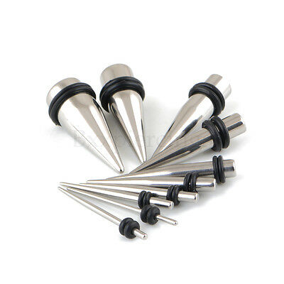 $5.59 • Buy 2pc 14G-00G 35mm Steel Straight Taper Expander Stretcher Ear Plug With O-Rings