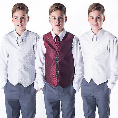 £14.99 • Buy Boys Suits Waistcoat Suit Page Boy Silver Wine Ivory, Baby To 12 Years 4pc Suit