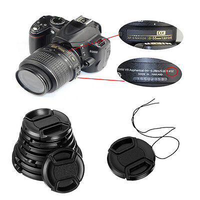 AU2.19 • Buy 49/52/55/58mm Center Pinch Snap On Front Lens Cap & String For Canon Nikon Sony