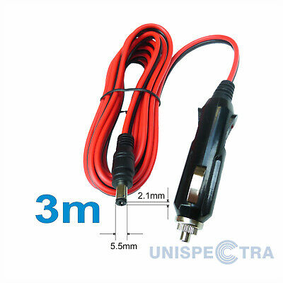 Car 12v 5A 5.5mm X 2.1mm DC Plug Charger Power Cable Lead 3m Length Pro Quality • 7.97£