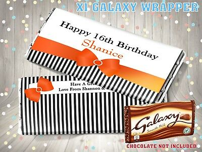 £1.25 • Buy PERSONALISED Ribbon Bow CHOCOLATE BAR WRAPPER Fits Galaxy 110g Birthday Gift
