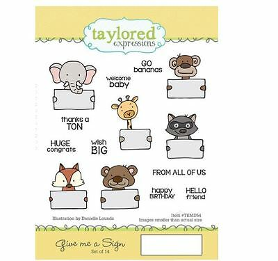 Taylored Expressions Rubber Cling Stamp Set ~ GIVE ME A SIGN Baby, Hello ~TEMD54 • 18.89$