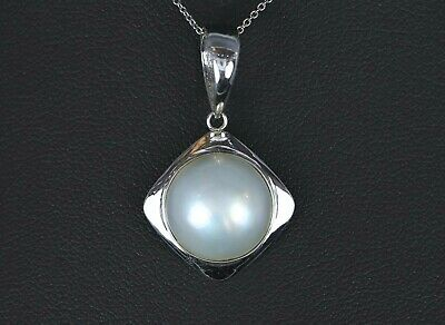 $450 • Buy $1595 14K White Gold Round 13.5mm Cultured Mabe Pearl Pendant Chain Necklace