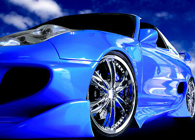 £17.39 • Buy Wallpaper Wall Mural 175 X 115cm Blue Sports Car Speedster Poster Style NEW