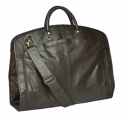Genuine Leather Suit Carrier Bag BROWN Dress Garment Cover Travel Cabin Bag NEW • 148£