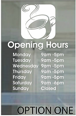 £5 • Buy COFFEE SHOP CAFE OPENING HOURS RESTAURANT DECAL PERSONALISED SIGN 20x15cm