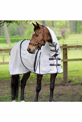 Masta Zing Lightweight Mesh Fly Horse Rug With Fixed Neck Blue Or White All Size • 34.99£