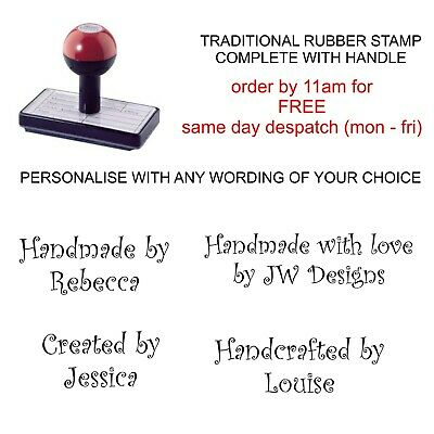 £8.75 • Buy Personalised Handmade By Rubber Stamp Custom Made Your Name Business Wording