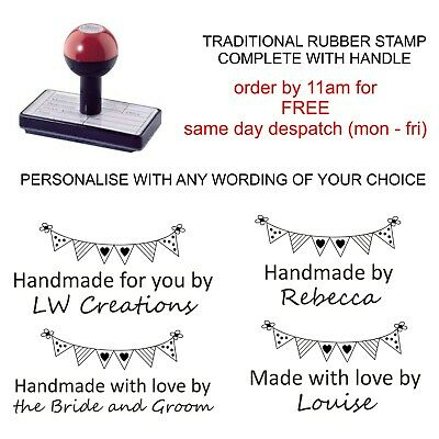 £8.75 • Buy Personalised Handmade By Rubber Stamp Your Name & Bunting Image Wedding Cards