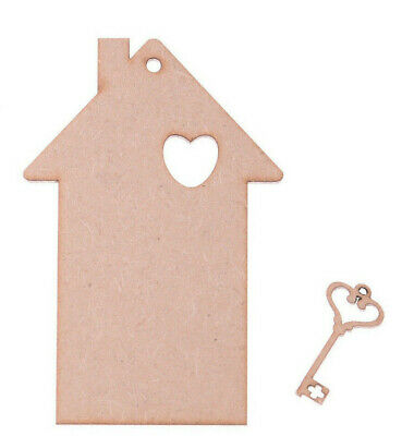 £3.85 • Buy Wooden House Shape With Key Shape Craft Blank Tags Set Of 5 Of Each