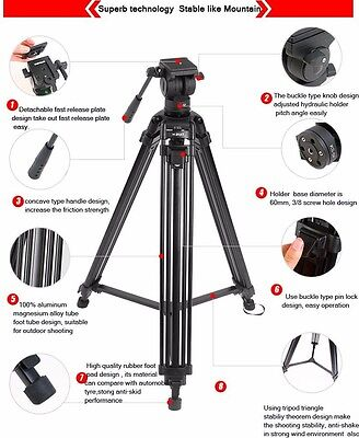 £85.16 • Buy DIAT 67  Pro Video Camera Tripod With Fluid Head Stative Stabilizer Folded