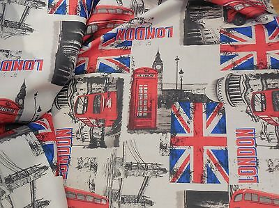 £9.99 • Buy London Landmarks Theme Linen Fabric DIY Thick Textured Linen Sold By Per0.5meter