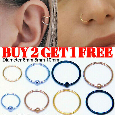 Nose Ring Stud Piercing Hoop Lip Tragus Helix Bar Cartilage Ear Small Thin • 1.79£