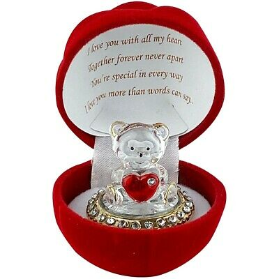 Crystal Teddy Bear Red Heart Glass Girl Friend Gift With A Poem Romantic Gift • 7.99£