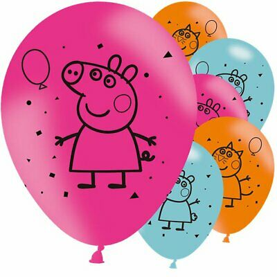 6 Pack Peppa Pig George Birthday Party Latex Pink Blue Balloons Decorations • 3.95£