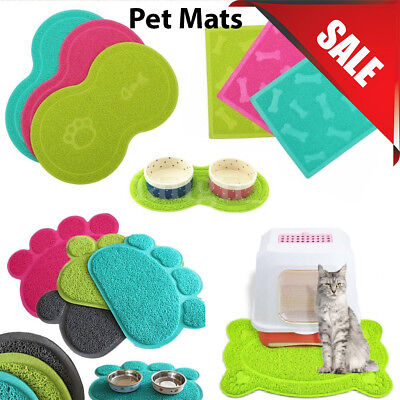 Pet Dog Puppy Cat Feeding Mat Pad Cute PVC Bed Dish Bowl Food Feed Placement FY • 4.49£