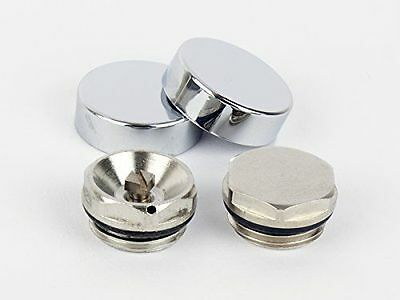 Radiator Blanking Plug And Air Vent Valves Two Chrome Cover Cap For Towel Rails • 4.49£