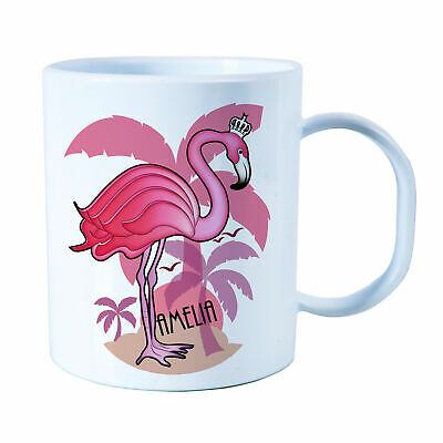 Personalised Flamingo Plastic Mug Children's Birthday Gift Juice Cup Any Name • 10.99£