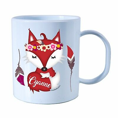 Personalised Fox Plastic Mug Children's Birthday Gift Juice Cup Any Name • 10.99£