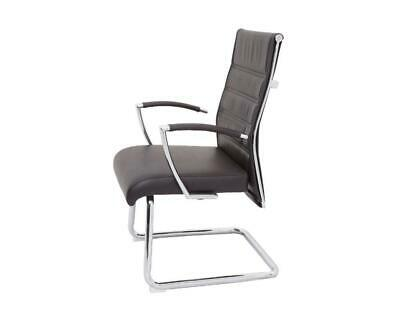 AU585.36 • Buy NEW Black PU Chrome Sled Base Office Visitor Chair - Rapidline Quentin