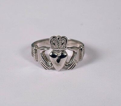 $275 • Buy  14K White Gold Claddagh Ring, Size 7.25