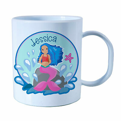 Personalised Little Mermaid Plastic Mug Children's Gift Juice Cup Any Name • 10.99£