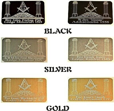 Masonic Regalia Briefcase Id Plate Plaque Personalised Gift With Name & Lodge • 4.95£