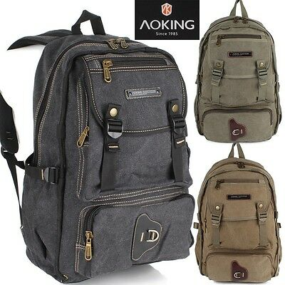 d85efa2f7180f Rucksack Daypack Reise Wander Schul Tasche Canvas Stoff AOKING Backpack  Outdoor • 27.90€