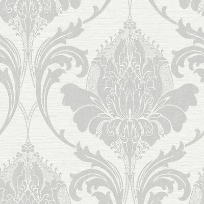 Crown Zahra Silver Grey Damask Quality Feature Designer Wallpaper M1158 • 9.55£