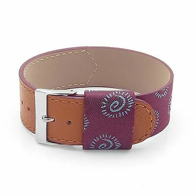 DASSARI Milan Italian Purple Silk & Leather Strap Watch Band • 21.70£
