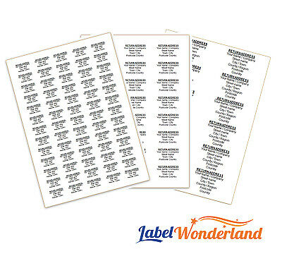£3.05 • Buy Personalised Self Adhesive Pre Printed Sticky Return Address Labels On A4 Sheets