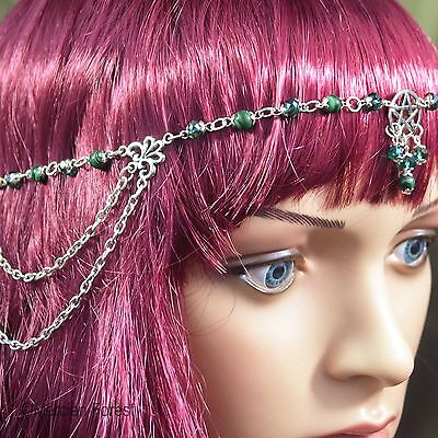 Pentacle Headdress With Malachite And Green Crystal - Pagan, Wicca, Witch • 19£