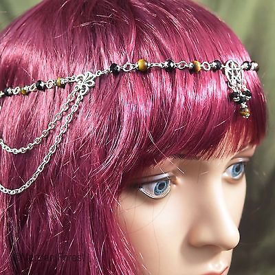 Pentacle Headdress With Tigers Eye And Black Crystal - Pagan, Wicca, Witch • 19£