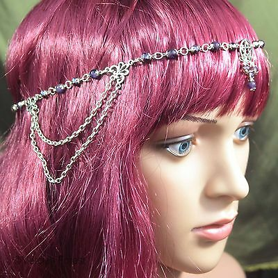 Pentacle Headdress With Amethyst And Purple Crystal - Pagan, Wicca, Witch • 19£