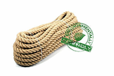 100% Pure Natural Jute Hessian Rope Cord Twisted Garden Decking 24mm Thick • 1.08£