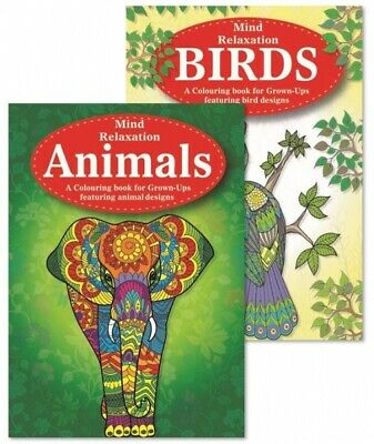 Martello- Animals/Birds Adult Colouring Books, Relaxation, Anti Stress Pack Of 2 • 3.49£