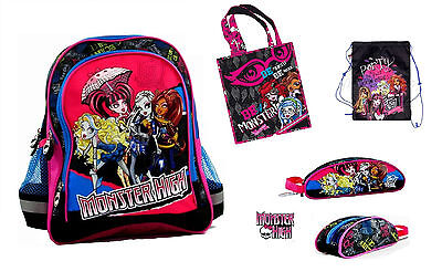 MONSTER HIGH SET: BACKPACK + PENCIL CASE + SHOE BAG + SHOPPING BAG Official • 27£