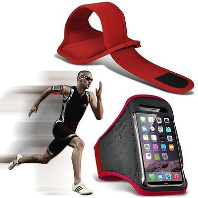 Quality Sports Armband  Gym Running Workout Belt Strap Phone Case Cover✔Red • 4.95£