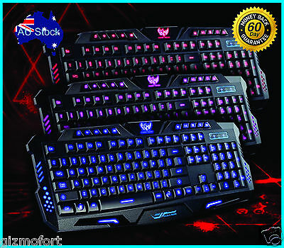AU22.95 • Buy 3 Colors Switchable LED Backlit Backlight USB Wired Gaming Keyboard - NSW DEALS