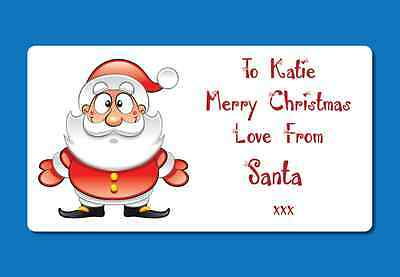 72 Personalised Christmas Present Labels Stickers From Santa Custom Names • 2.99£