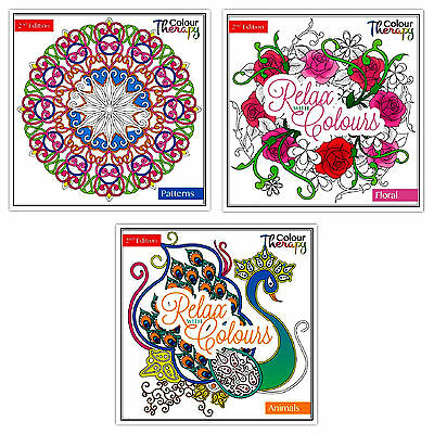 Colour Therapy  Series Two  Colouring Books Set Of 3 - FLORAL, ANIMAL & PATTERN • 4.95£