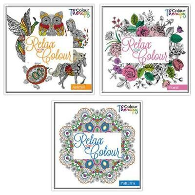 Tallon Colour Therapy Adult Colouring Books - Set Of 3, Floral, Animal & Pattern • 4.95£